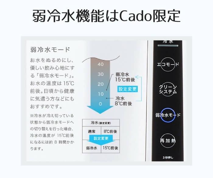 弱冷水機能はプレミアムウォーターからレンタル販売中のCadoウォーターサーバー限定の特別機能になります。