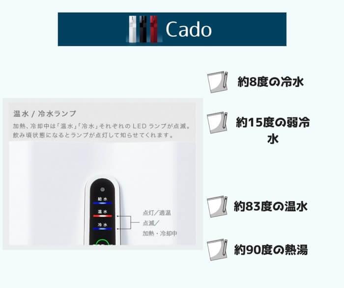 Cadoウォーターサーバーは最大4段階の温度調節が可能な珍しいタイプのウォーターサーバーマシーンになります。