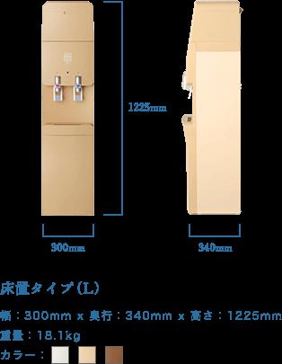 こちらがアクウィッシュの床置きサーバーの大きさ・形状を紹介した画像です。