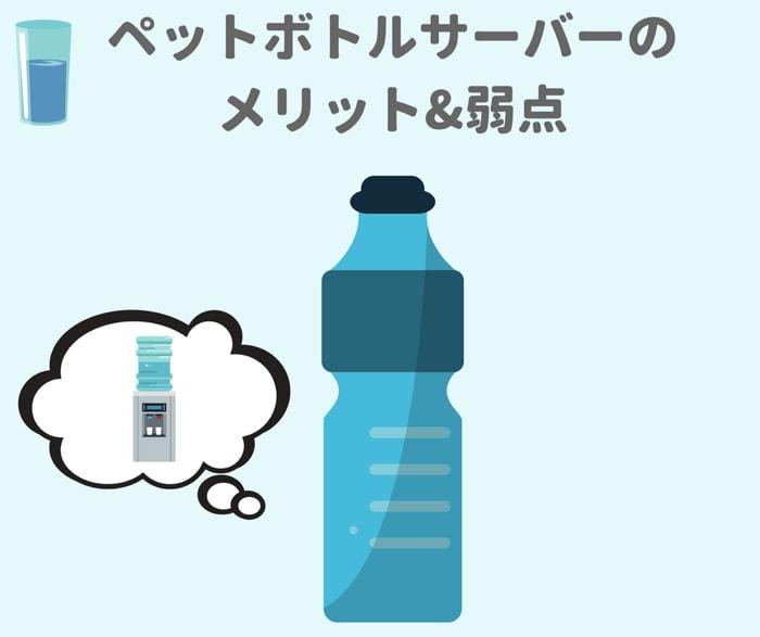 市販のペットぐボトルが使えるウォーターサーバーをおすすめ順に紹介しながら,メリットとデメリットも合わせて解説しています。