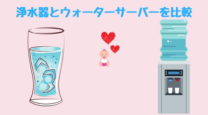 浄水器とウォーターサーバーの違いを簡単に比較しながら、最適な赤ちゃん用のお水をご紹介しています。