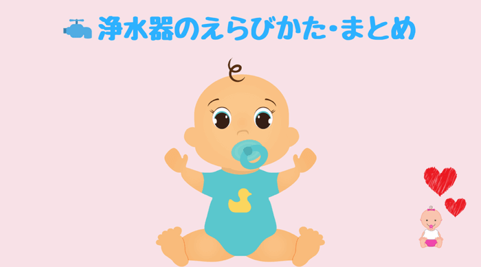 赤ちゃんのミルク・飲料水に最適な浄水器の選び方を簡単にご紹介しています。
