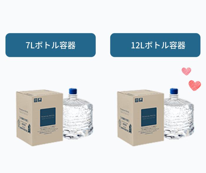 プレミアムウォーター水のボトル容器は2種類あり
