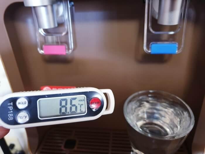 コスモウォーターの冷水温度測定結果