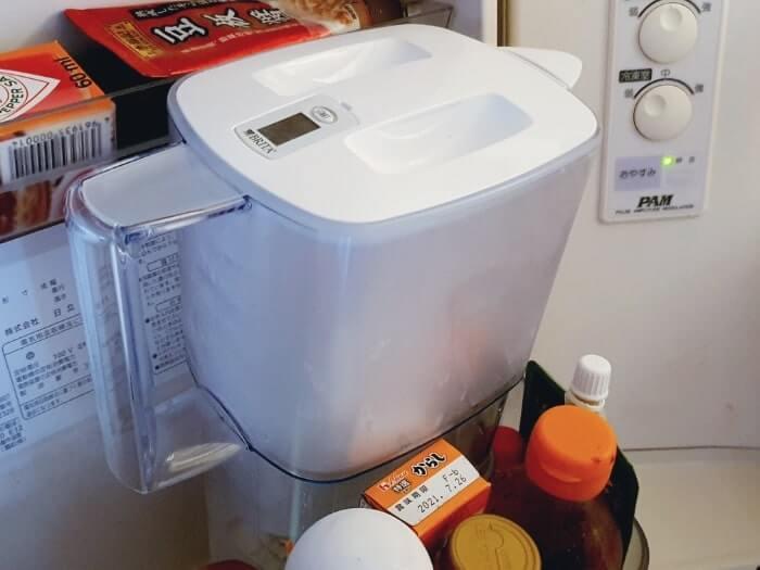 ブリタポット型浄水器なら冷蔵庫のサイトポケットにすんなり入る