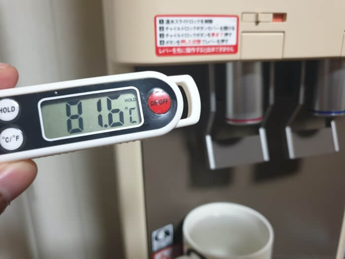 アマダナスタンダードサーバーの温水温度測定結果