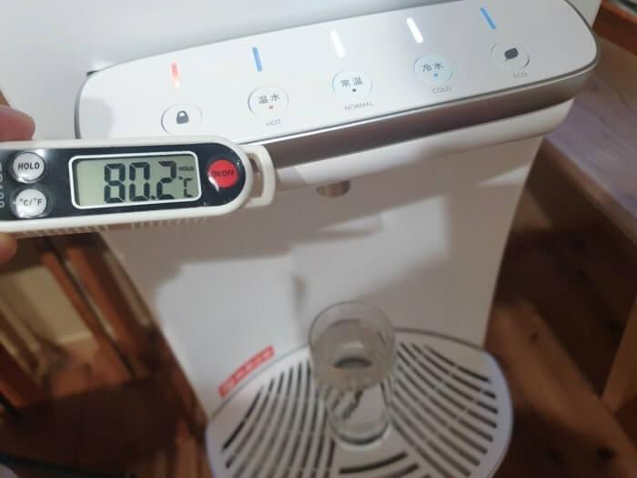 ハミングウォーターの温水温度測定結果